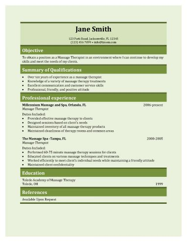 Massage Therapy Resume Template  Free Resume Templates Microsoft