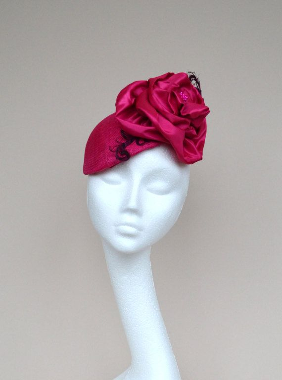 Fuchsia Pink Wedding Hat Cerise Tail By Jaracedesigns