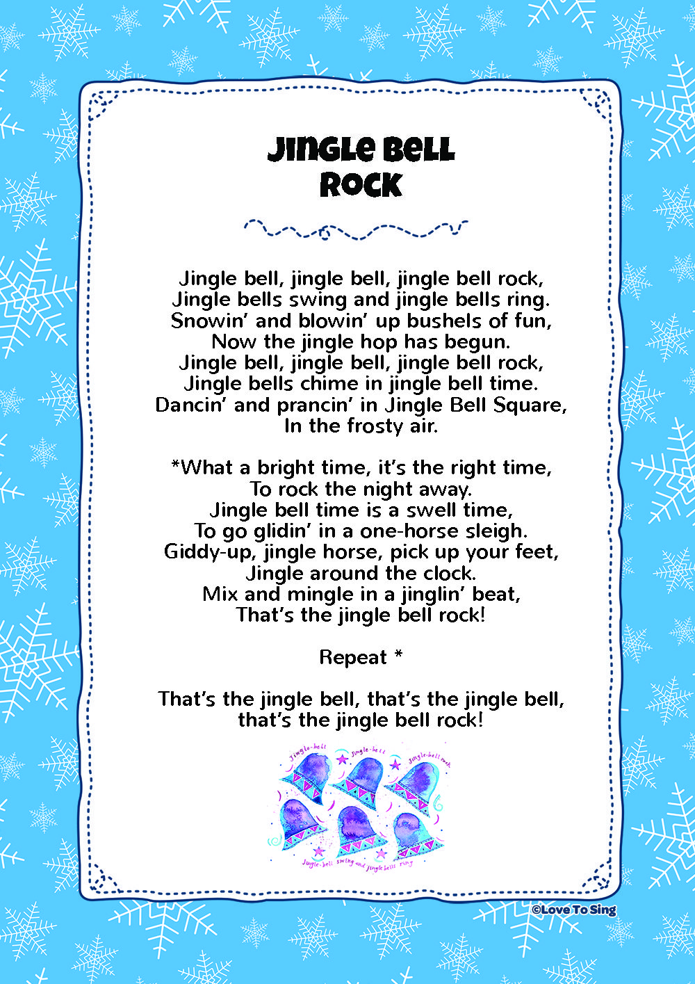 Jingle Bell Rock Kids Video Song With Free Lyrics Activities Christmas Lyrics Christmas Songs For Kids Christmas Songs Lyrics