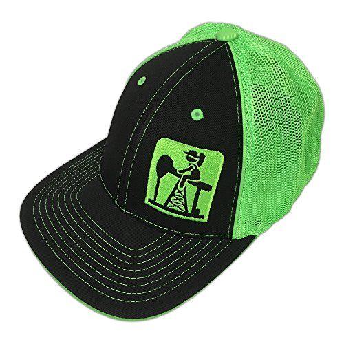 ffd35d933ca Pump Jack Cowboy Brand BlackNeon Green Reverse Out Pumpjack Logo Flexfit Hat