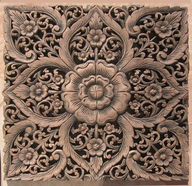 Carved Wooden Wall Art wall art panel wall decorated hand carved from teak wood elegant