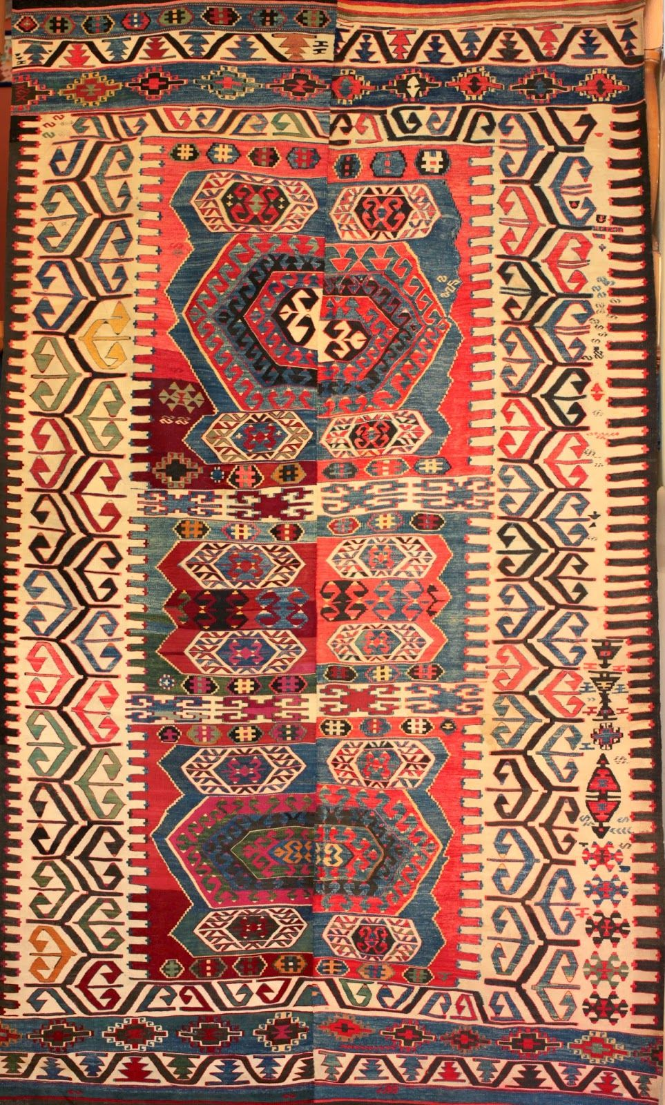 A Very Unusual Antique Dowry Kilim From The Village Of