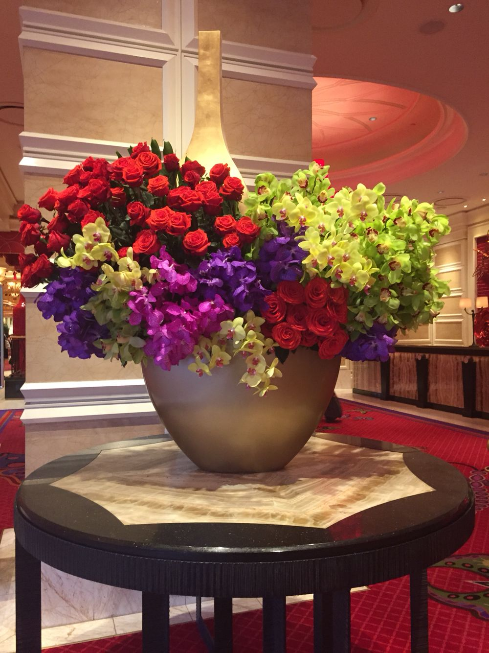 flower arrangements at the Encore Hotel Lobby in