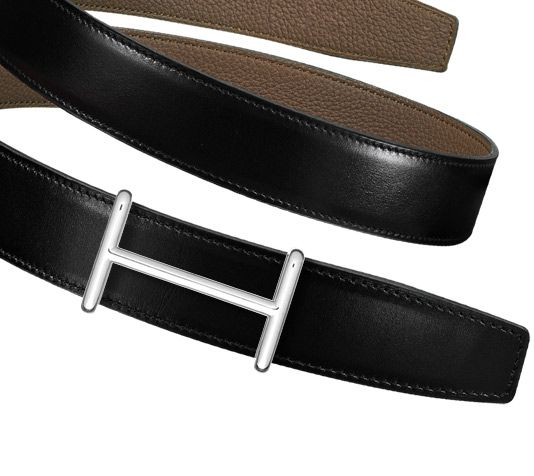 4aecb5c5198d Hermès - Men s reversible leather strap in black taupe Box and Togo  calfskin with leather lining (width  32 mm)   Idem buckle, silver and  palladium p.
