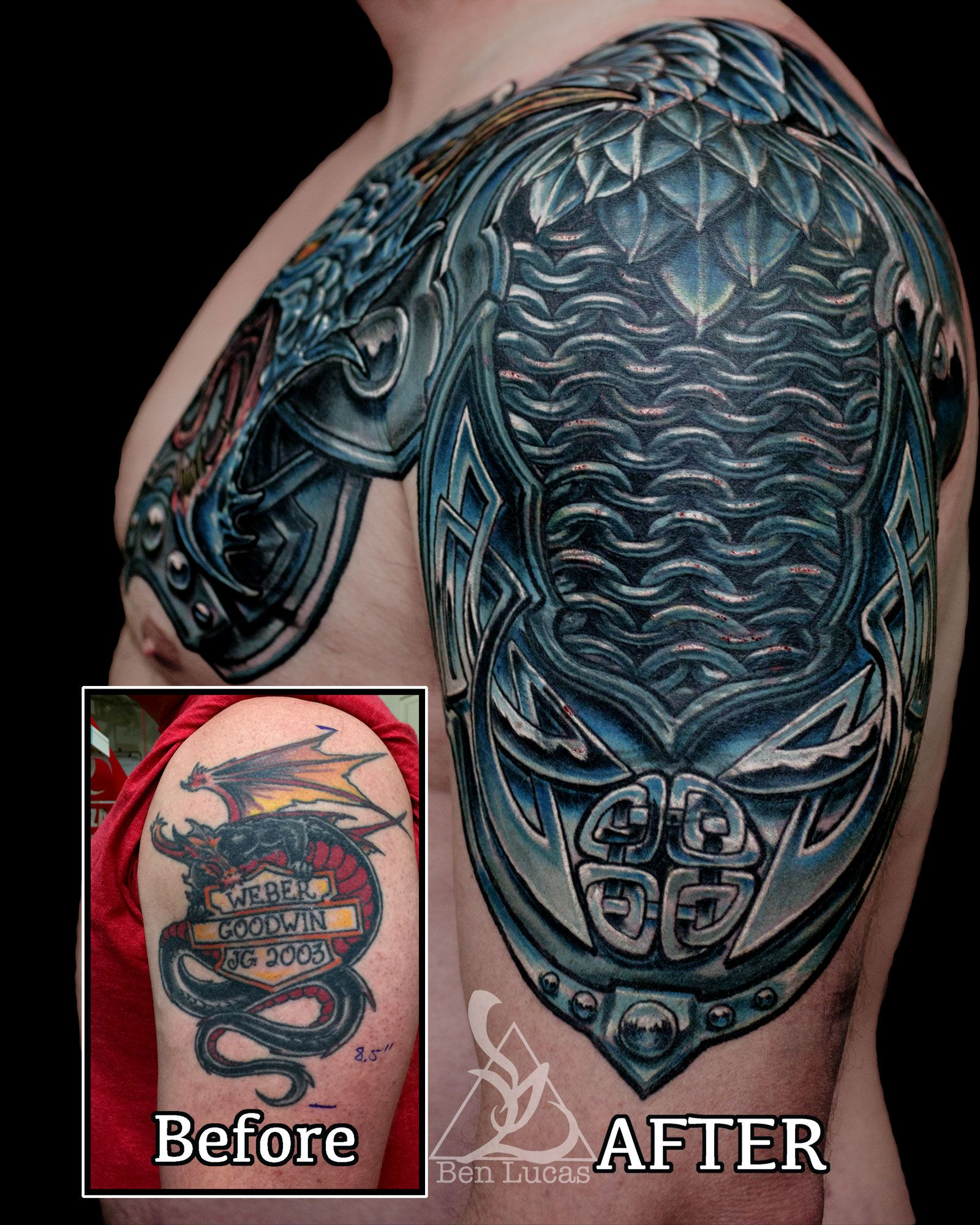 Dragon armor coverup tattoo by Ben Lucas at Eye of Jade