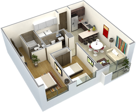 Planos de casas de una planta 2 recamaras buscar con for Maquetas de apartamentos modernos