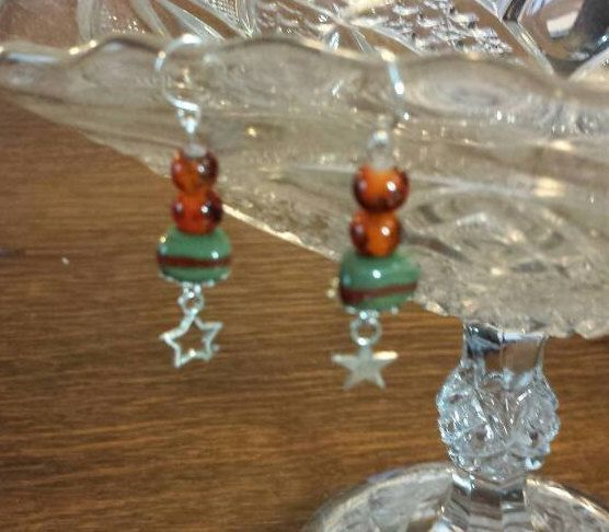 "1 3/4 "" Beaded Drop Earrings, Handmade Beads, Green and Burnt Orange, Star Earrings, Boho Chic, Unique, Sterling, Hippie, Mother's Day Gift by NEWFACED on Etsy"
