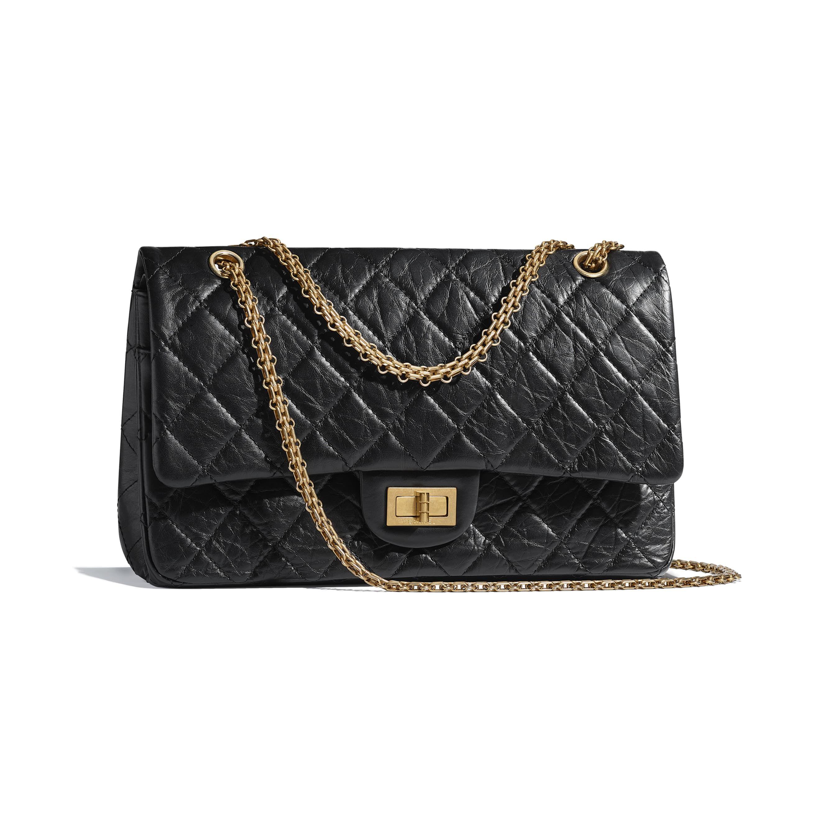 4fcf6c1177ec Maxi 2.55 Handbag - Black - Aged Calfskin & Gold-Tone Metal - Other view -  see standard sized version