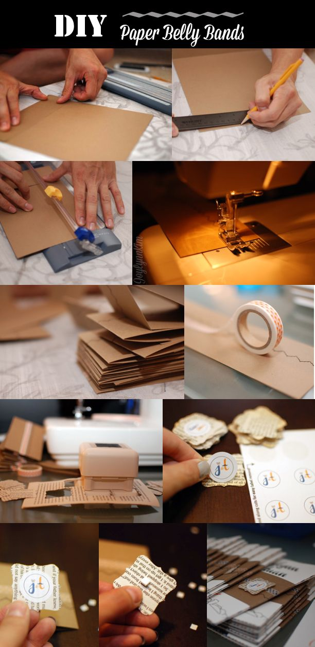 Diy Kraft Paper Belly Bands Creative Wedding Invitations