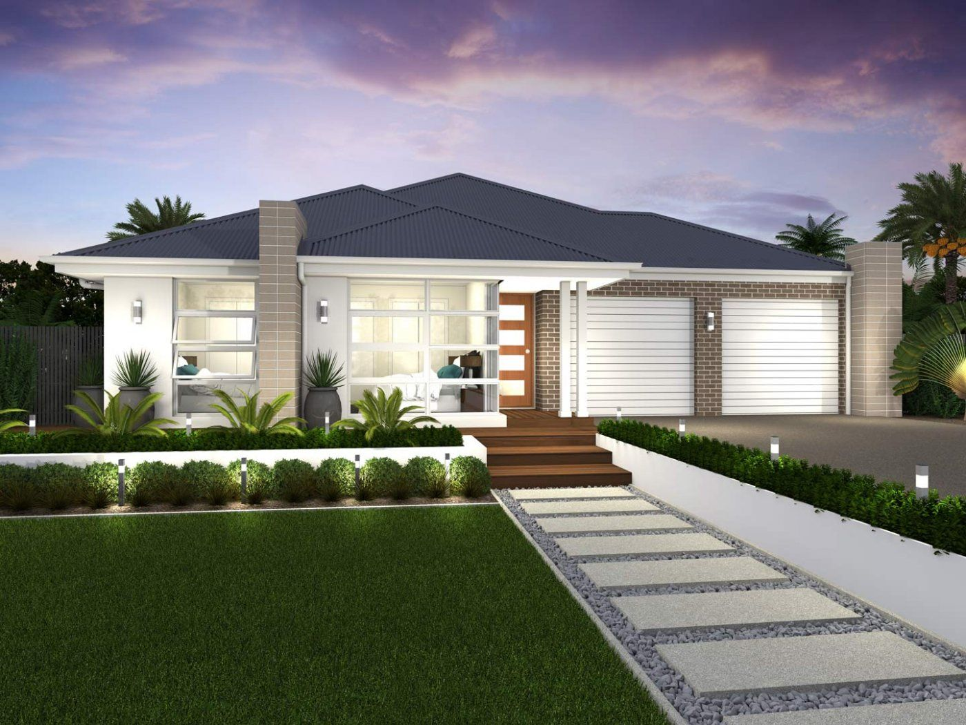 Duo Dual Living Facades Mcdonald Jones Homes Modern Front Yard Front Yard Design Front House Landscaping