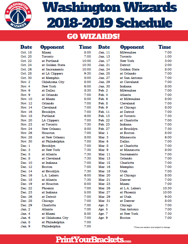 photograph about Chicago Bulls Schedule Printable named Printable 2018-2019 Washington Wizards Plan Printable