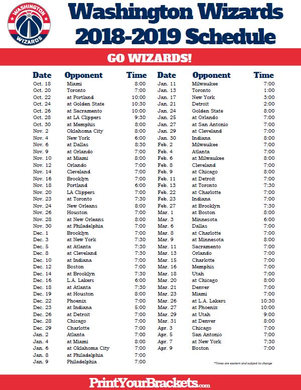 graphic regarding Chicago Bulls Schedule Printable named Printable 2018-2019 Washington Wizards Program Printable