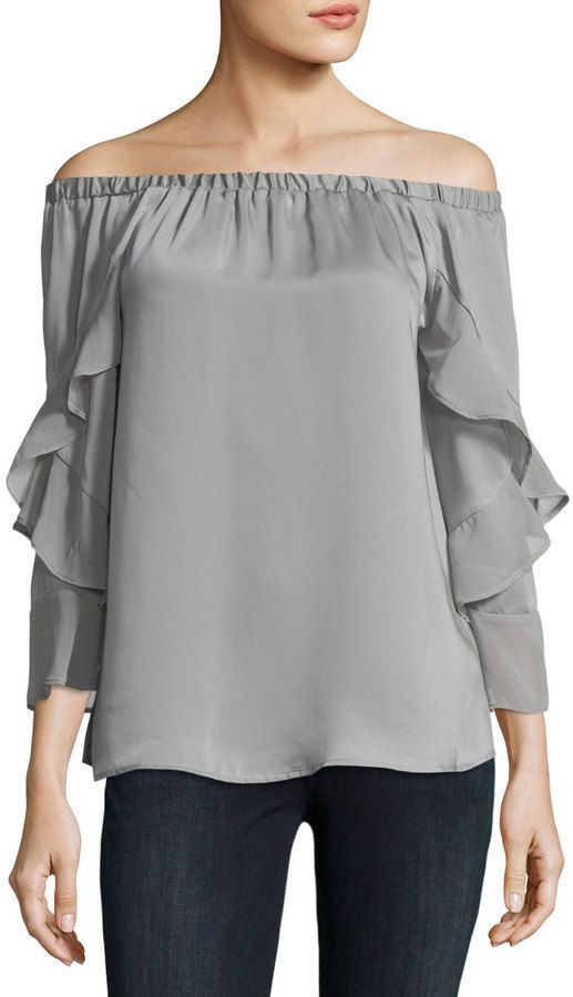 360be09069fb6 Neiman Marcus Ruffled Off-The-Shoulder Blouse
