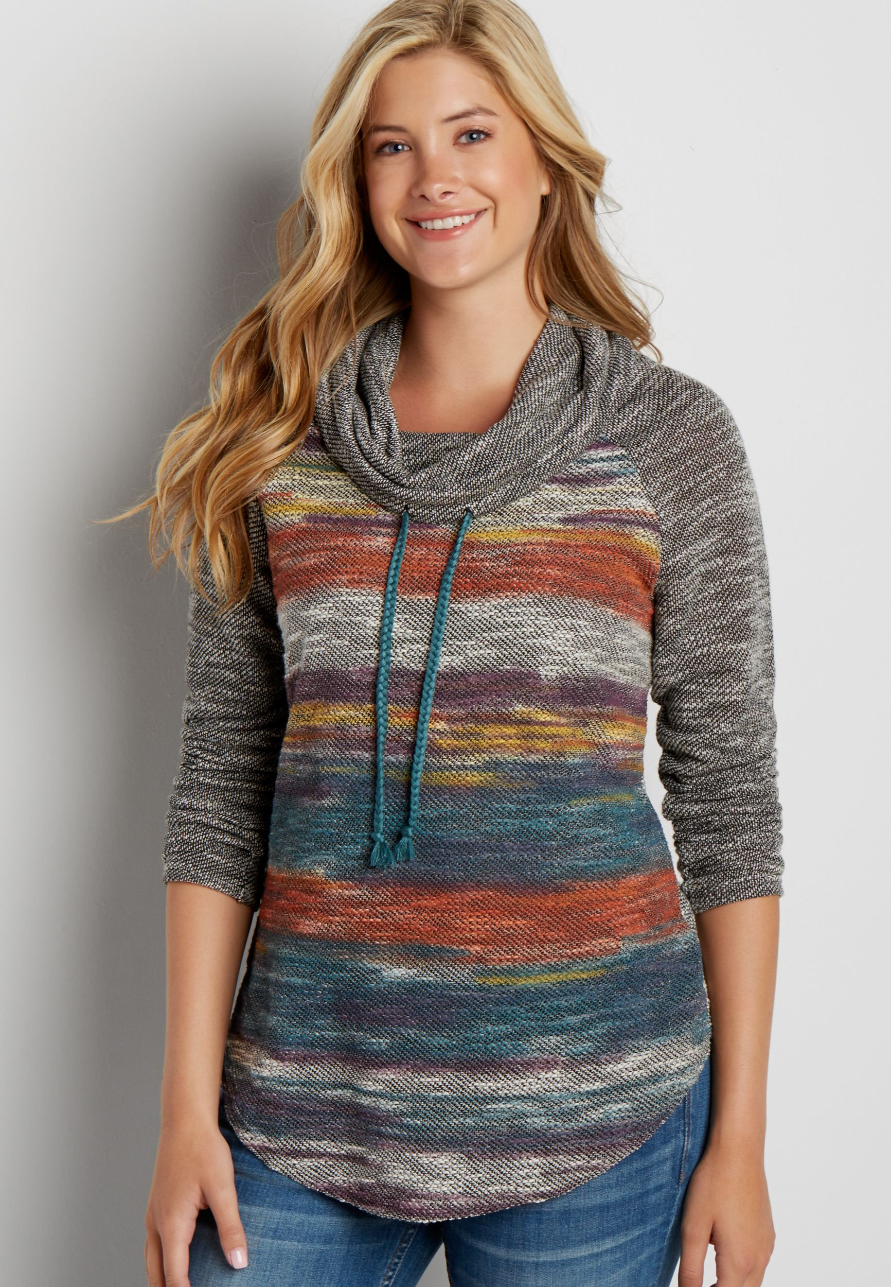 a83b92b2532 stripe round hem cowl neck pullover (original price