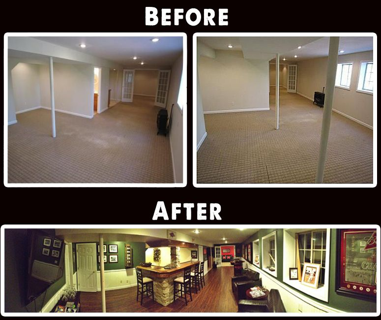 Best Basement Subfloor Materials For Your Man Cave: Man Cave / Basement Bar Remodel.