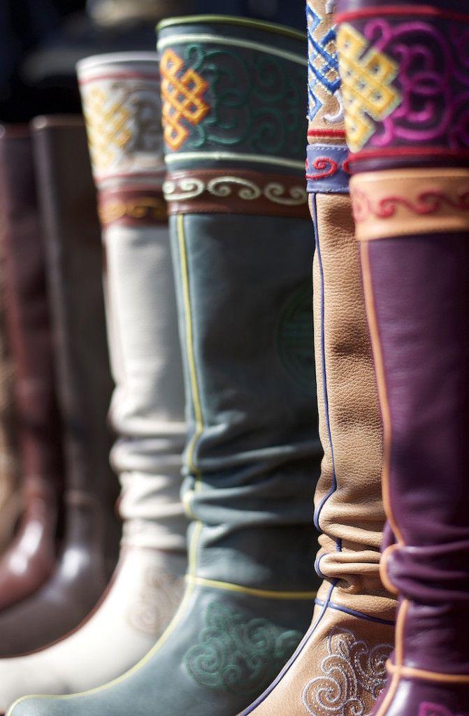 Mongolian boots at the Naran Tuul Market Ulaanbataar