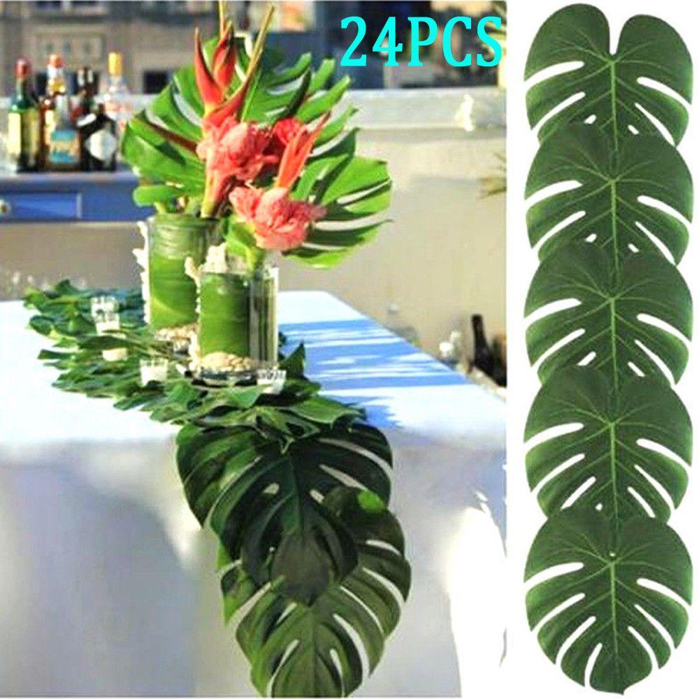 24PCS Tropical Hawaiian Green Leaves Luau Moana Party