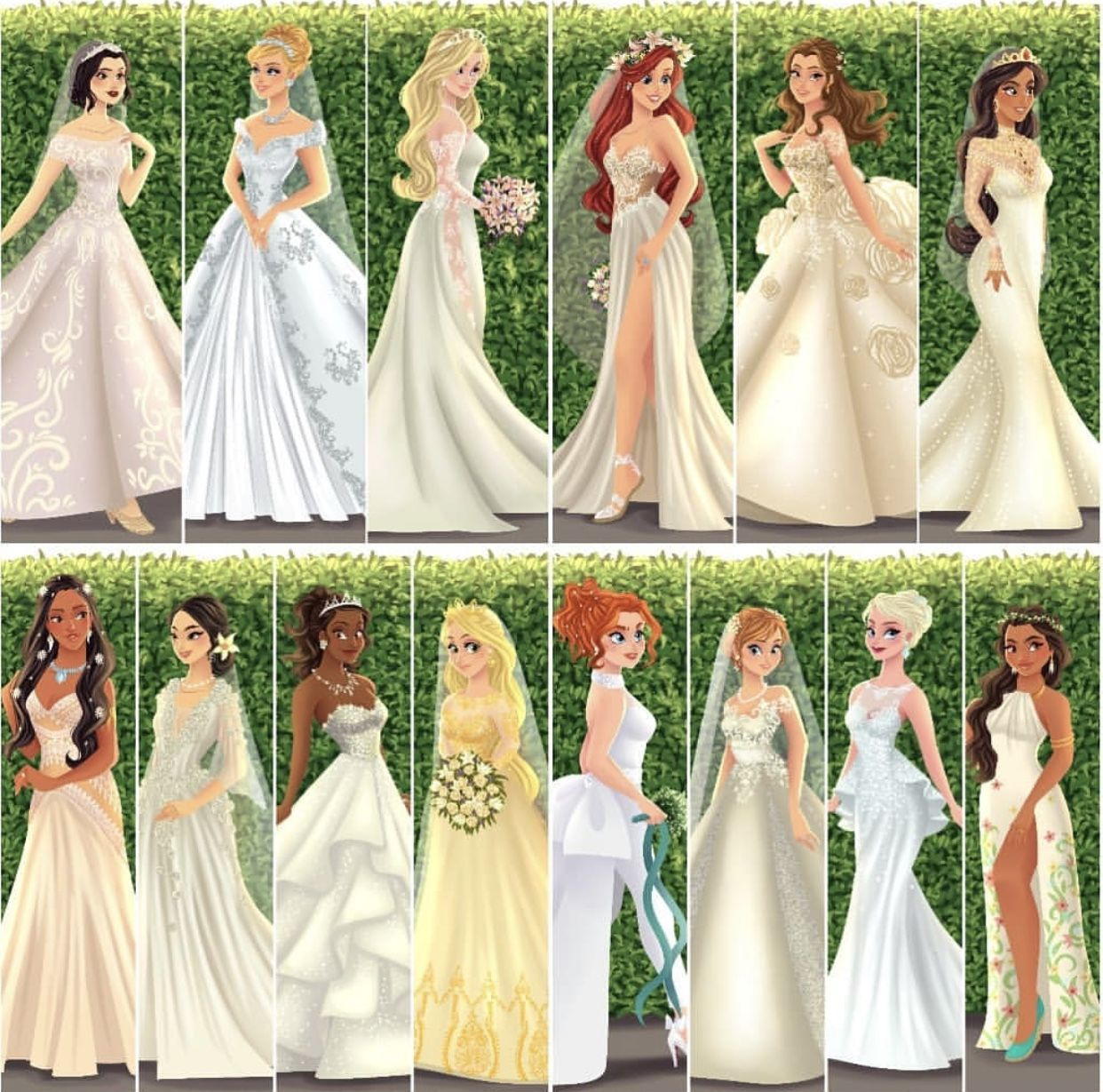 Princesses In Fashionable Wedding Dresses Disney Princess Wedding Disney Princess Wedding Dresses Disney Princess Dresses