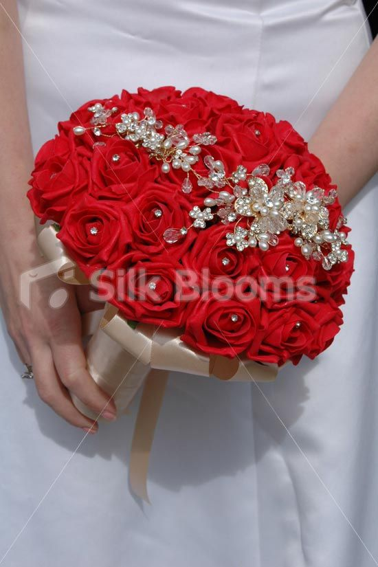 Vibrant Red And Gold Crystal And Pearl Brooch Bridal Wedding