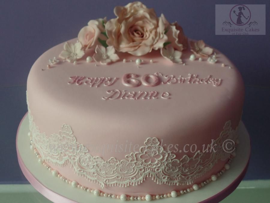 Pink Rose And Lace Cake For A 60th Birthday Birthday Cake For