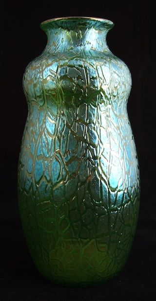 A Tall And Bold Loetz Vase With The Classic Crackle Or Astglas Decor