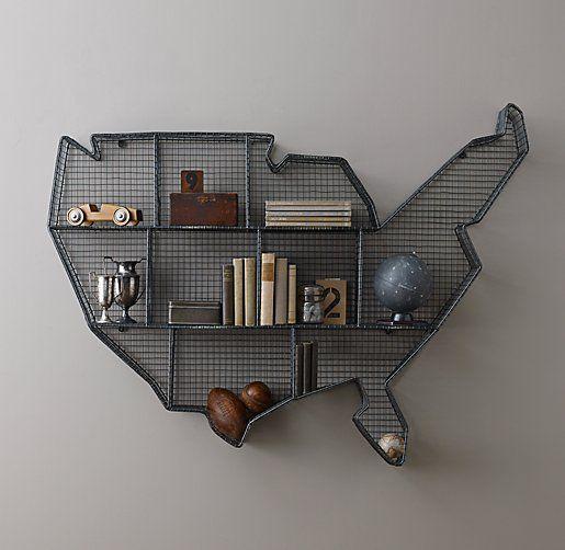 Restoration Hardware Usa: Industrial Wire Cubby USA Map Shelf @projectnursery