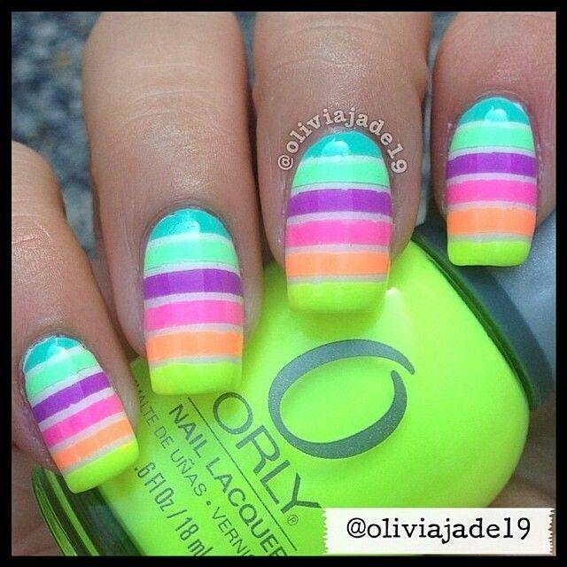 Striped Neon Nail Art ☻ …   Pinteres…