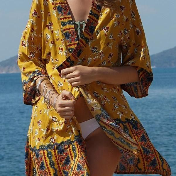 a30405dc21 Ethnic Style Printed Beach Bikini Sunscreen Cardigan Cover-up in ...