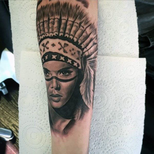Lovely Native American Girl Tattoo Mens Forearms