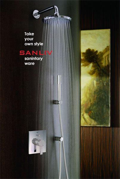 Sanliv Improved Bathroom Fixtures By A Large Rainshower Head And A Handheld  Shower Head, Which Controled By A Concealed Shower Valve.