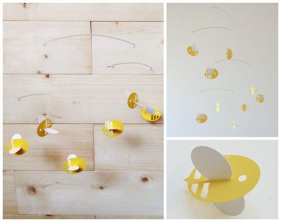 Ble Bee Mobile Yellow Modern Scandinavian Home Decor Nursery Crib Office Art Unique Baby Shower Gift Balanced