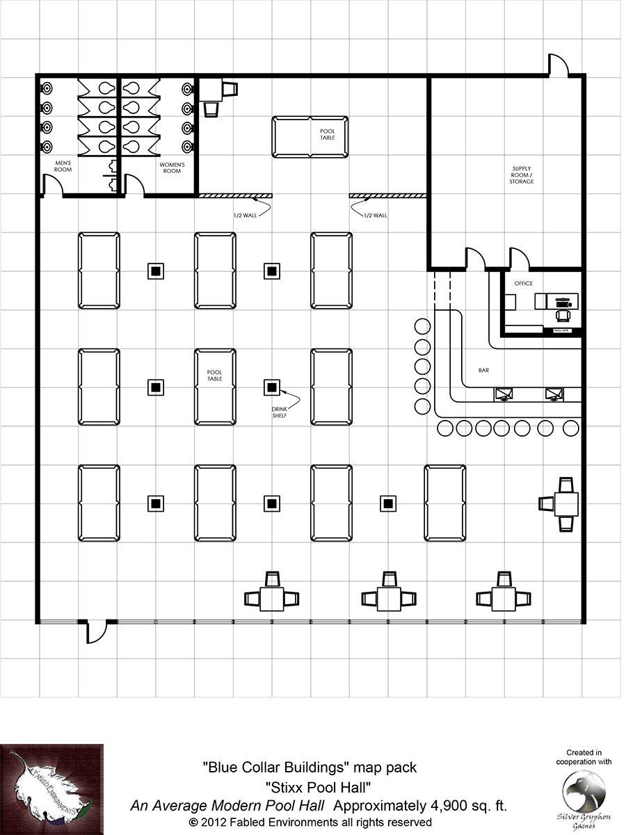 Modern Floorplans An Average Modern Pool Hall Fabled Environments Modern Floorplansdrivethrurpg Com Pool Halls Modern Pools Floor Plans