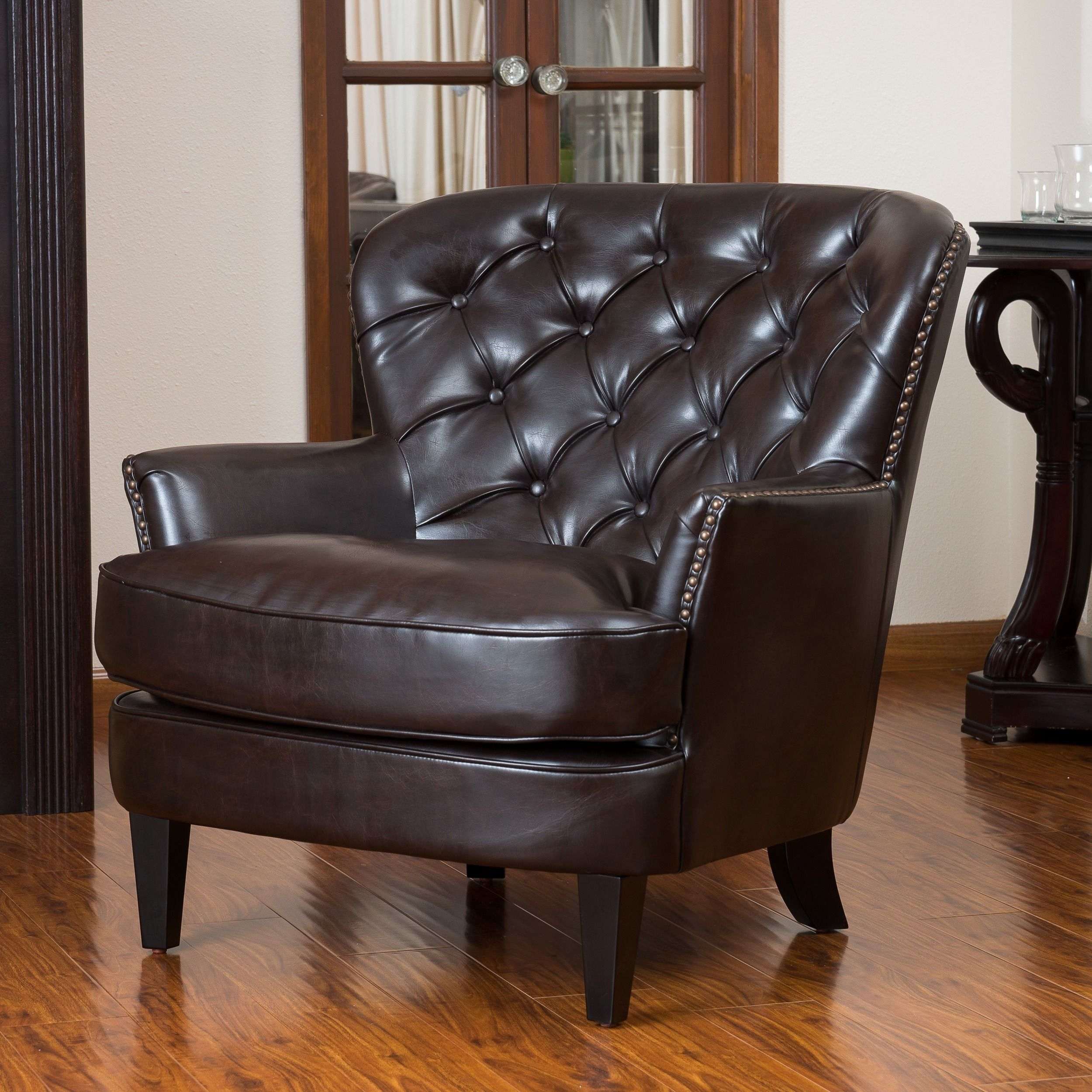Tafton Tufted Oversized Brown Leather Club Chair By