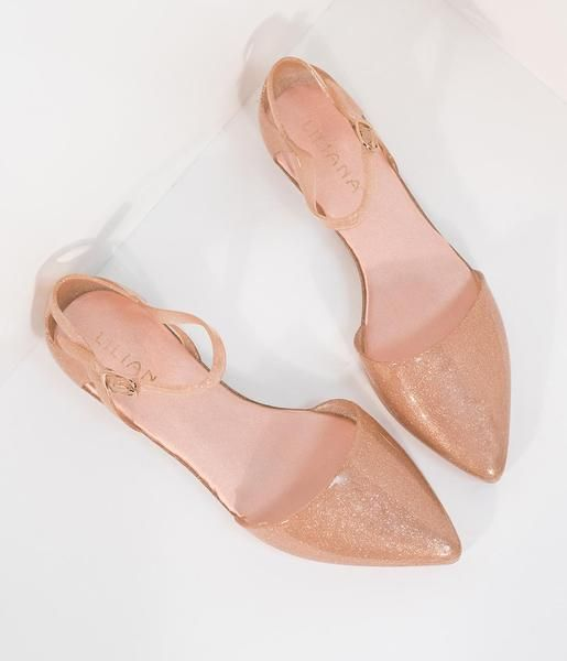 Champagne Sparkle Jelly Pointed Toe D'Orsay Flat