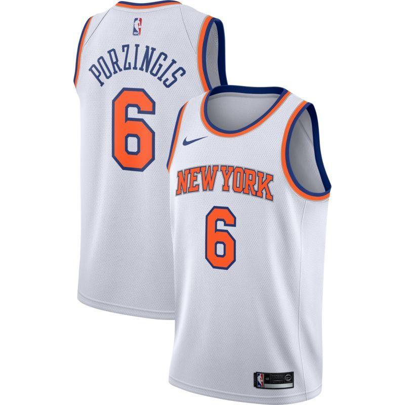 best service 981a3 f8222 Nike Youth New York Knicks Kristaps Porzingis #6 White Dri ...