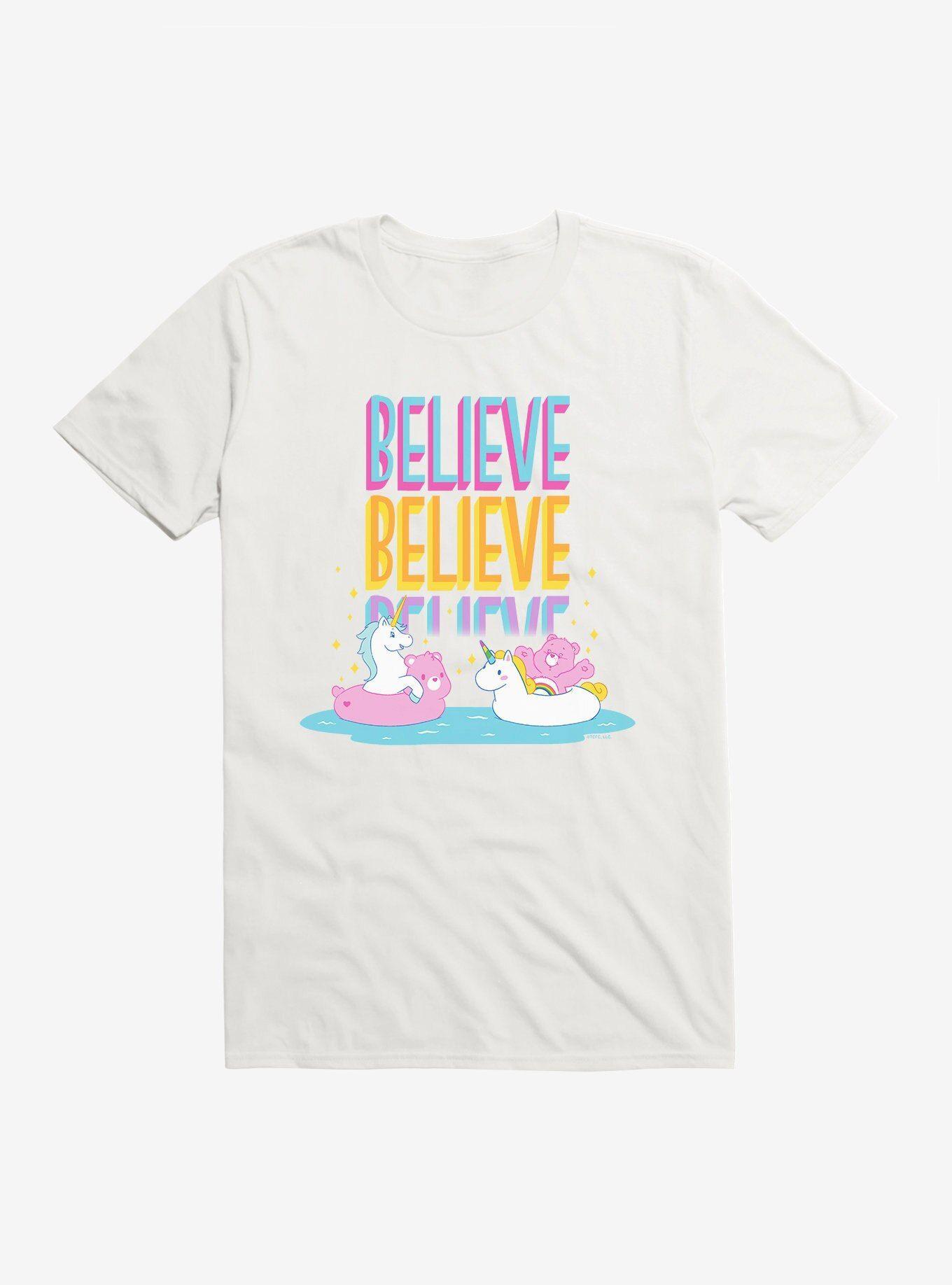 Care Bears Cheer Believe TShirt WHITE  Long Sleeve Sweatshirt Hoodie