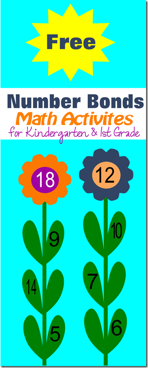 Free printable number bonds flower math activities for kindergarten ...