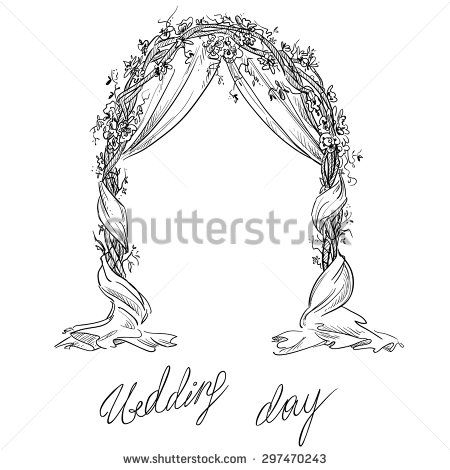 Stock Vector Wedding Arch Decoration Vector Sketch Design Element 297470243 Jpg 450 470 Wedding Drawing Wedding Illustration Foliage Wedding Decor