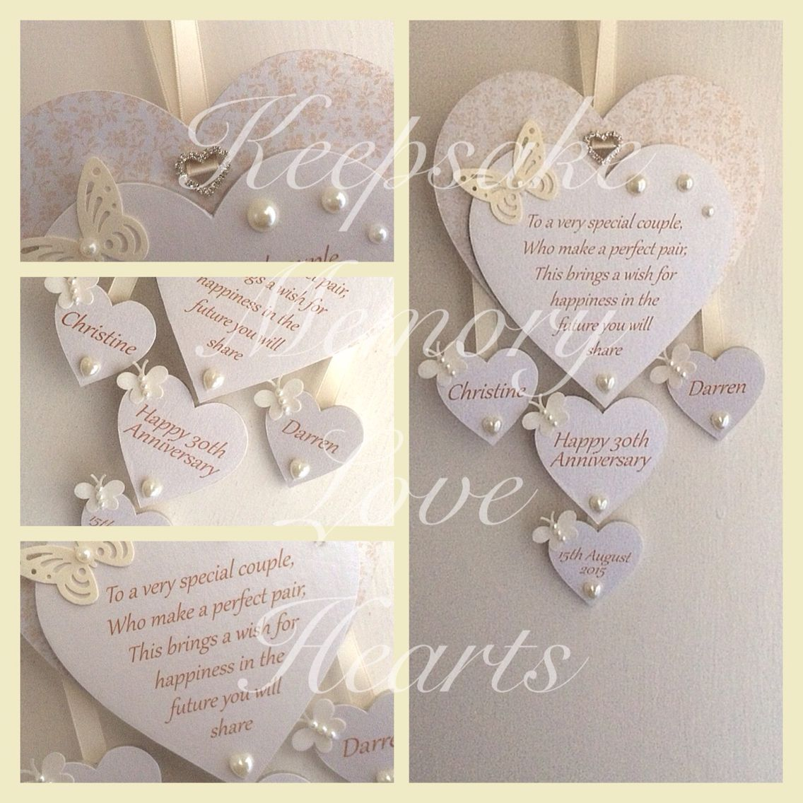 30th Pearl anniversary gift personalised wooden keespake