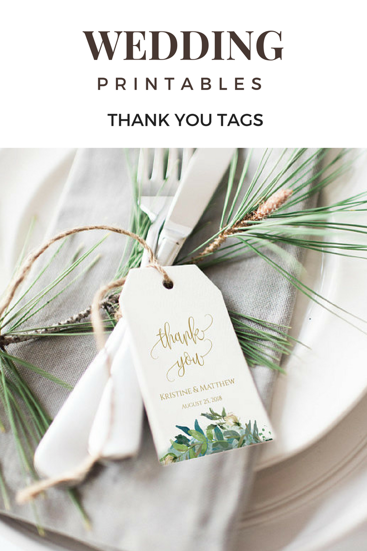 Greenery Wedding Tags, Gold Wedding, Thank You Tags, Wedding Favor ...