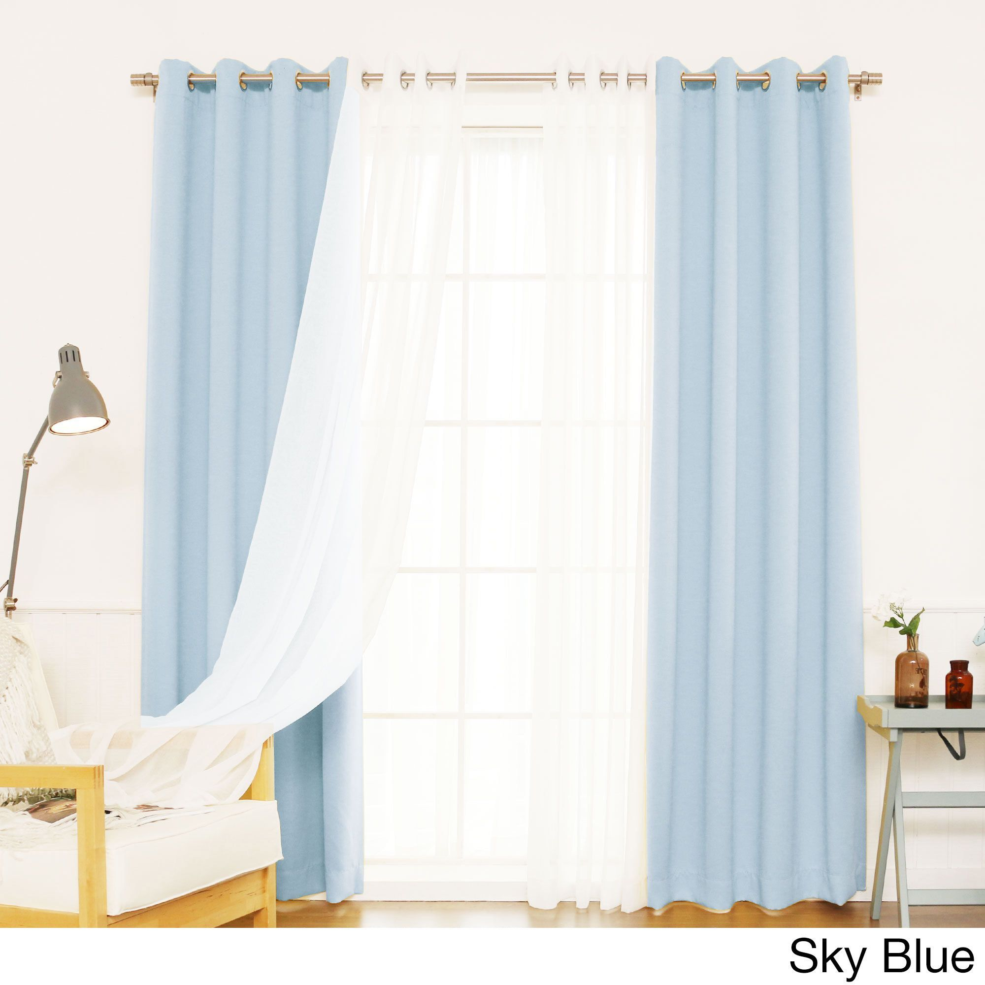Aurora Home MIX U0026 Match Curtains Blackout And Muji Sheer 84 Inch Silver  Grommet 4 Piece Curtain Panel Pair (