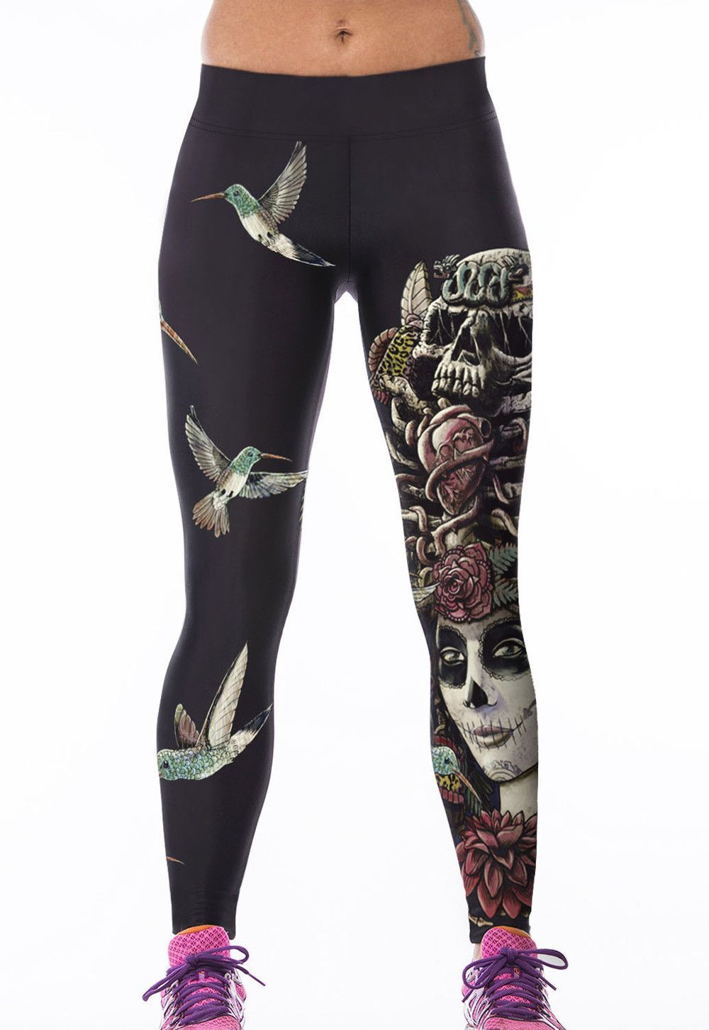 fea54da975 Fuchsia Night Owl/Game Time/Skull Queen Punk High Stretch Leggings LC79746  Running Fitness Tight Pants Printed Stretch Slim Pant
