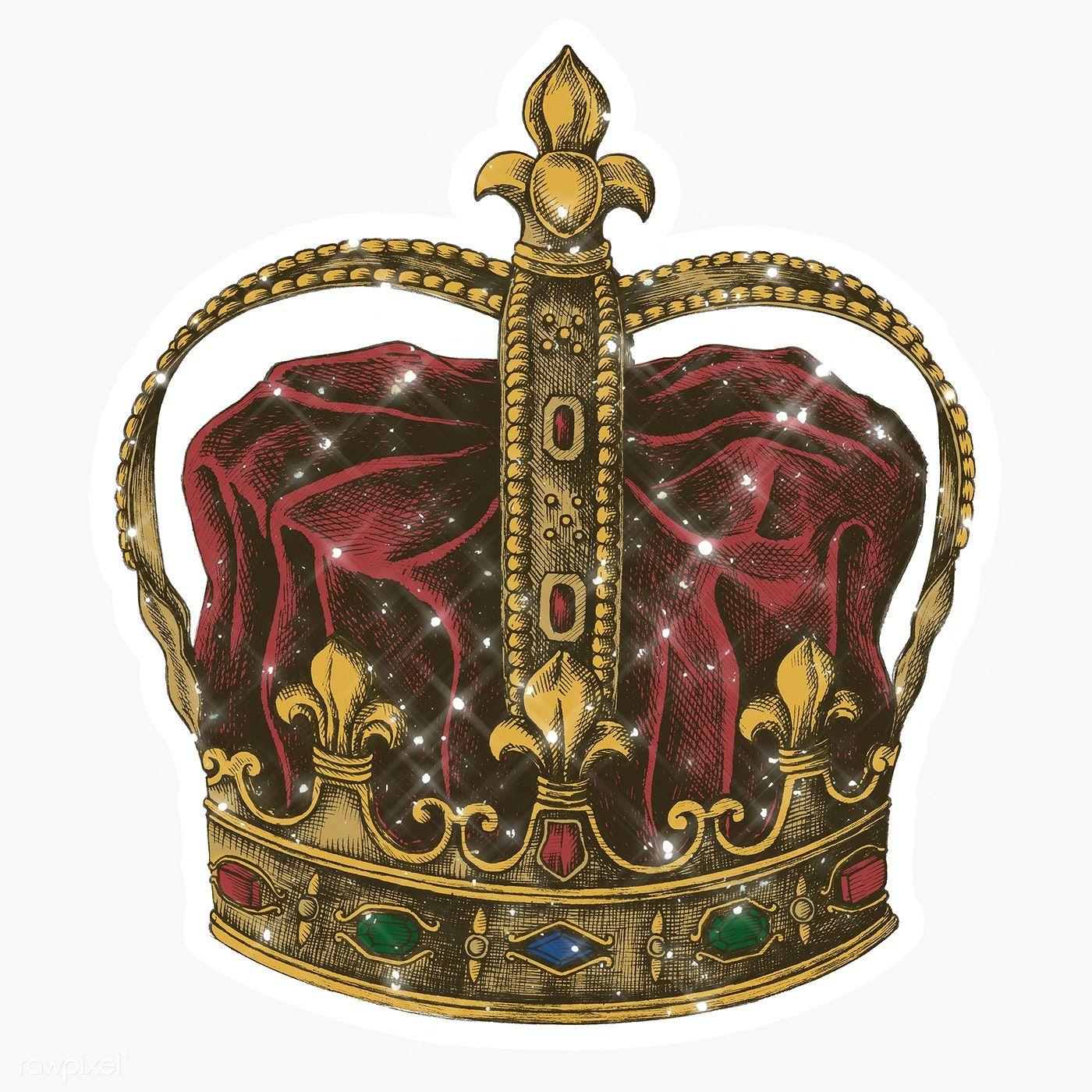 Sparkling Royal Crown Sticker With White Border Free Image By Rawpixel Com Manotang Crown Design Crown Royal Design Element