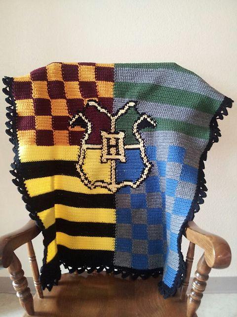 Harry Potter/ Hogwarts House Crochet Blanket | Harry ...