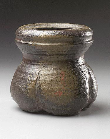 Water Jar (Mizusashi)   Japan Momoyama period (1573–1615) late 16th century Stoneware with wood-ash glaze (Bizen ware) 8 1/4 x 8 11/16 in. (20.9 x 22.1 cm)