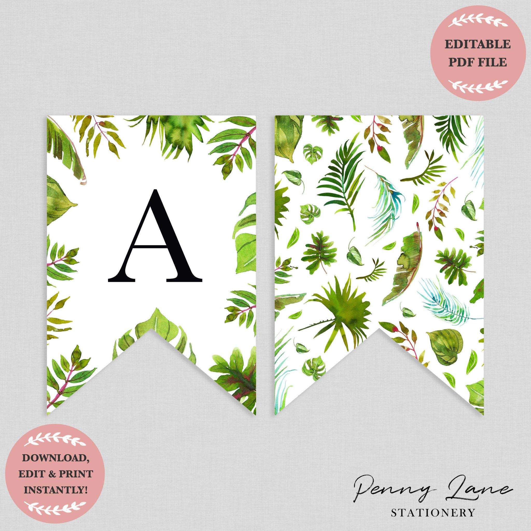 Tropical Greenery Baby Shower Bunting Flag Banner Baby Shower Bunting Bunting Template Printable Banner
