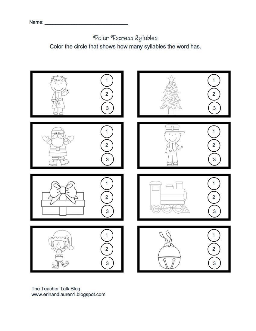 Teacher Talk Polar Express Syllables Polar Express Worksheets Syllable Worksheet Kindergarten Worksheets