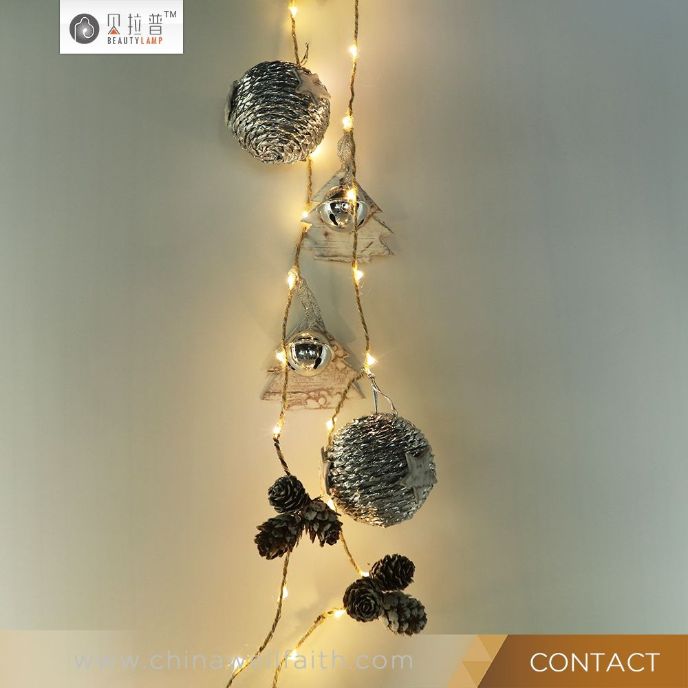 2017 hotsale hemp rope warm white fairy string light for home decoration led copper string lights