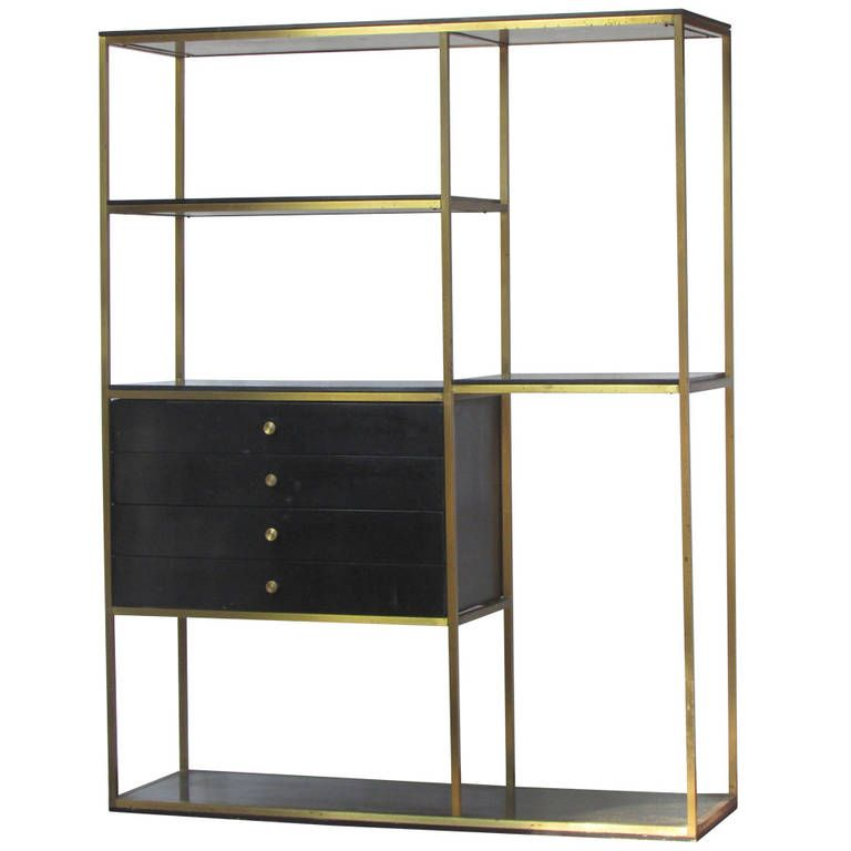 Brass and Wood Shelving Unit by Furnette Wood shelving units