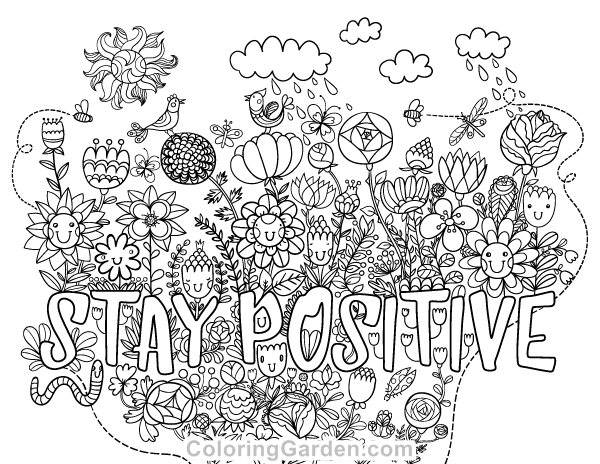 "Free printable ""Stay Positive"" adult coloring page"